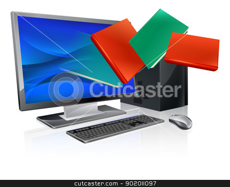 Computer books education or ebook concept stock vector clipart, Desktop computer with books flying out of screen. Online education or ebook concept by Christos Georghiou