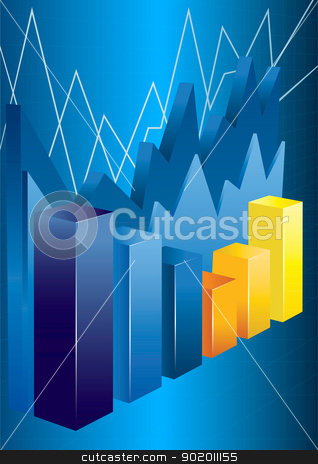 Business Chart stock vector clipart, 3d financial graph stat business background by monicaodo