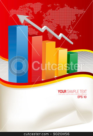 Vector Business Chart stock vector clipart, 3d financial graph stat business background by monicaodo