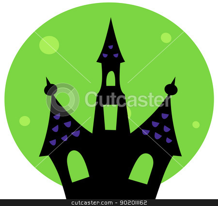 Halloween Haunted house with green moon behind stock vector clipart, Haunted house silhouette. Vector cartoon Illustration  by BEEANDGLOW