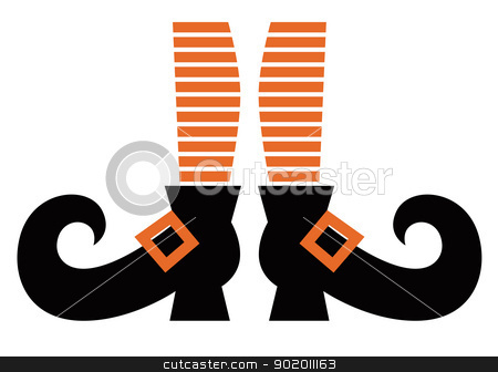 Cartoon Witch legs isolated on white stock vector clipart, Orange striped witch legs. Vector cartoon Illustration by Jana Guothova