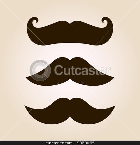 Retro mustache illustration set