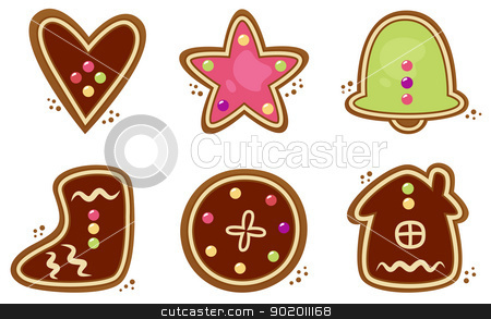Christmas cookies set isolated on white stock vector clipart, Gingerbread cookies in various shapes. Vector collection by Jana Guothova