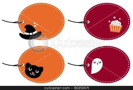 Cute halloween blank banner set isolated on white stock vector clipart, Halloween banner retro collection. Vector by Jana Guothova