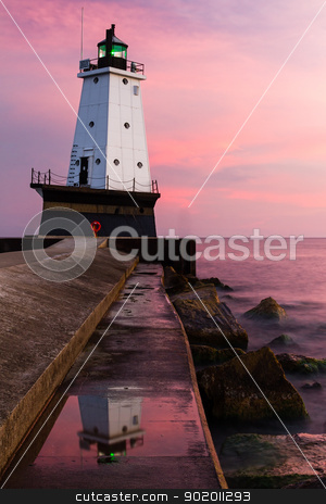 Ludington Lighthouse at Sundown, Michigan stock photo, The Ludington, Michigan, North Breakwater Lighthouse at sundown. by Kenneth Keifer