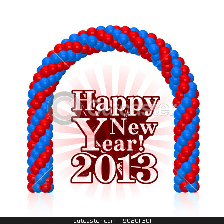 vector illustration of happy new year 2013 stock photo, vector illustration of happy new year 2013 with balloons by sermax55