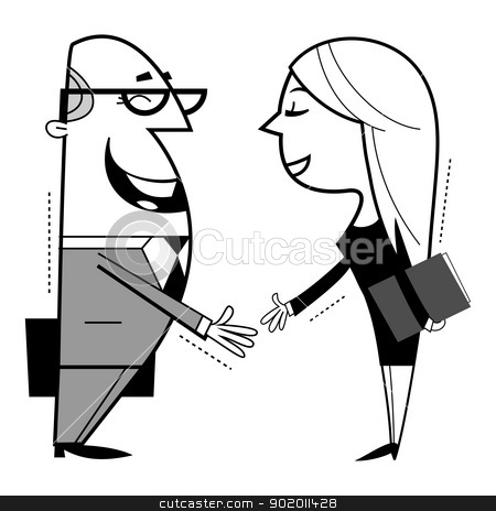 Shaking hands cartoon illustration. stock vector clipart, Shaking hands cartoon illustration. by Moenez