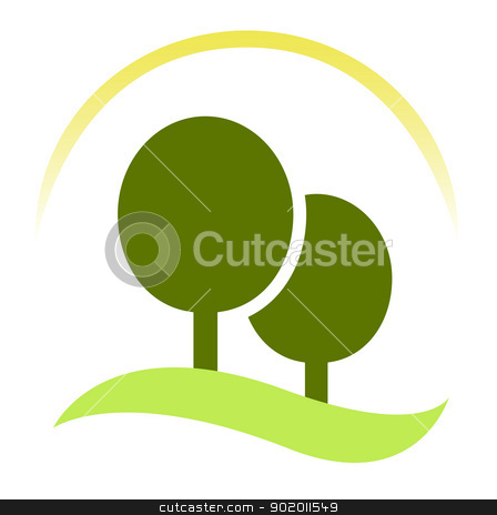 Green trees - forest sign isolated on white stock vector clipart, Nature or forest sign or symbol. Vector Illustration  by BEEANDGLOW