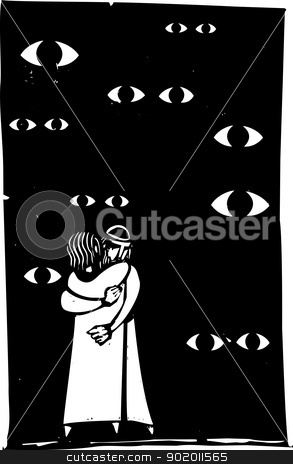 Watched Embrace stock vector clipart, A middle eastern couple are watched embracing by many eyes. by Jeffrey Thompson