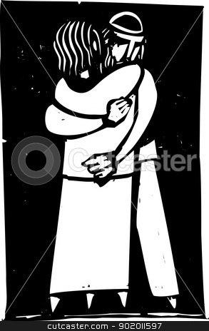 Embrace stock vector clipart, Jewish man and woman embracing rendered in an expressionist style. by Jeffrey Thompson