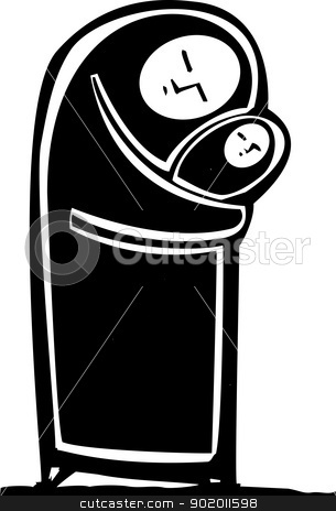Simple Muslim Mother stock vector clipart, Simple expressionistic image of a Muslim mother in hijab hugging an infant. by Jeffrey Thompson