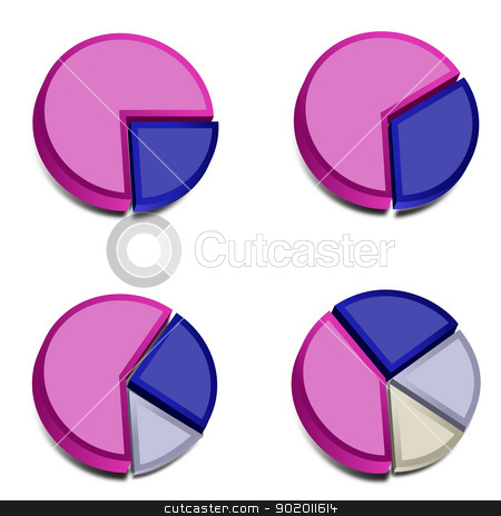 3D Pie Charts 3 stock vector clipart, Four 3D pie charts with various amounts graphed with purple, blue, gray and ivory.  These vectored images may be used in a wide variety of displays. by John Lutheran