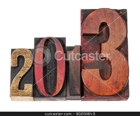 year 2013 in wood type stock photo, year 2013  - isolated text in vintage letterpress wood type, mixed fonts by Marek Uliasz