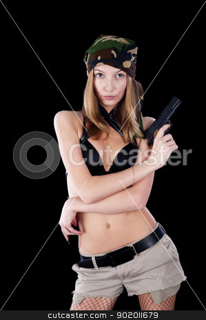 Pretty woman with a gun stock photo, Sexy young woman with a gun at grey by Aikon