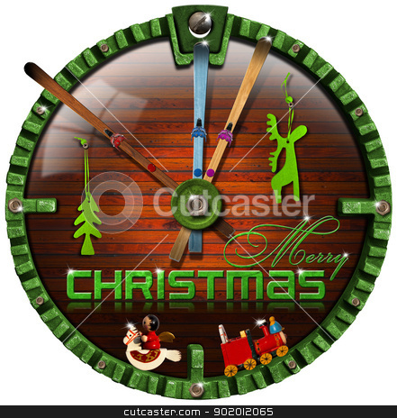 Merry Christmas Grunge Clock stock photo, It's time for winter holidays - ski and christmas decorations   by catalby