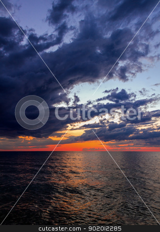 Big water at Sundown stock photo, Lake Michigan just after sunset seen from SLeeping Bear Dune National Lakeshore, Michigan, USA. by Kenneth Keifer