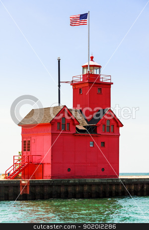 Holland Big Red Lighthouse stock photo, Holland, Michigan South Pierhead Lighthouse is known as