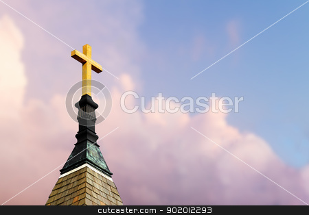 Cross on Steeple stock photo, Cross atop a steeple with colorful clouds behind by Kenneth Keifer