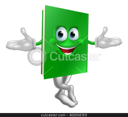 Cartoon book mascot stock vector clipart, Cartoon book mascot smiling with crossed legs and hands out  by Christos Georghiou