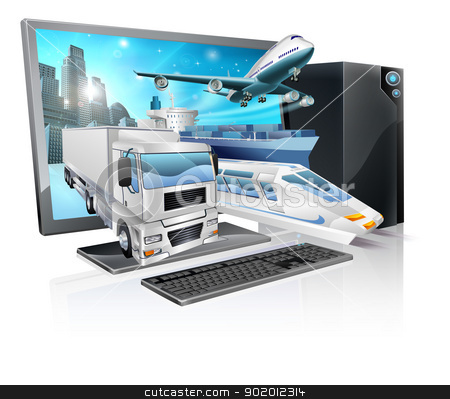 Desktop pc logistics concept stock vector clipart, A desktop computer with truck, train, plane, and ship coming out of screen. Logistics transport or delivery concept. by Christos Georghiou
