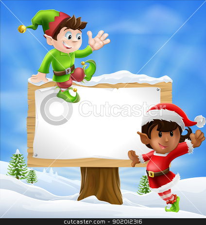 Christmas Characters and Sign stock vector clipart, Two Santa's helper type Christmas characters with a large sign with copyspace  by Christos Georghiou