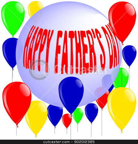 Happy Father's Day Balloons and Ball. stock vector clipart, A happy father's day message on a ball with balloons floating around. by Kotto