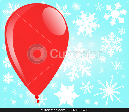 Christmas Balloon stock vector clipart, A large red balloon drifting through a few large snowflakes. by Kotto