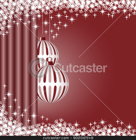 Xmas balls Brown stock vector clipart, Christmas scene with hanging ornamental brown striped xmas balls, snowflakes and stars. Copy space for text. by toots77