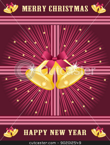 Gold xmas bells, burgundy bows stock vector clipart, Gold christmas bells with burgundy bows set on a burgundy sunburst background decorated with stars. by toots77
