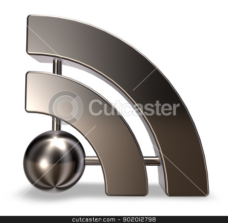rss symbol stock photo, metal rss symbol on white background - 3d illustration by J?