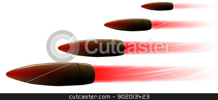 Bullet Hail stock vector clipart, Four speeding rifle bullets by Kotto