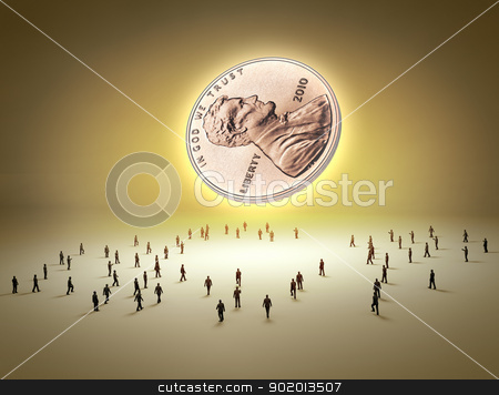 Money symbol and people stock photo, Money symbol with tiny human figures around by Sergey Nivens