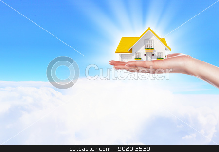 the house in hands on blue sky stock photo, Hand holding / offer house. Real estate concept. Handful collection. by Sergey Nivens