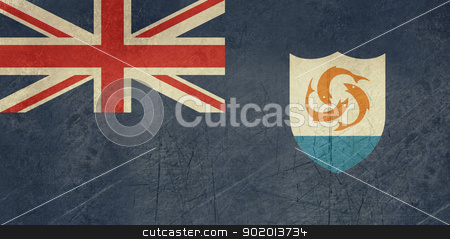 Grunge Anguilla Flag stock photo, Grunge sovereign state flag of dependent country of Anguilla in official colors.  by Martin Crowdy