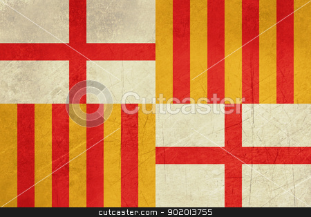 Grunge Barcelona City Flag stock photo, Grunge Illustration of Barcelona city flag in Spain, isolated on white background. by Martin Crowdy