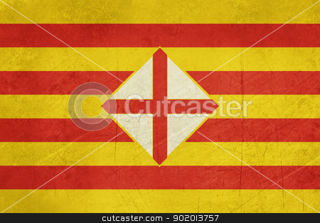 Grunge Barcelona province flag stock photo, Grunge Illustration of Barcelona province flag in Spain, isolated on white background. by Martin Crowdy