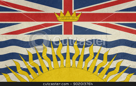 Grunge British Columbia state flag stock photo, Grunge illustration of British Columbia state flag, Canada. by Martin Crowdy