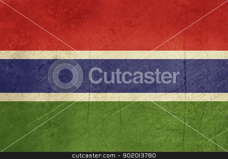 Grunge Gambia Flag stock photo, Grunge sovereign state flag of country of Gambia in official colors. by Martin Crowdy