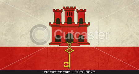 Grunge Gibraltar Flag stock photo, Grunge sovereign state flag of dependent country of Gibraltar in official colors.  by Martin Crowdy