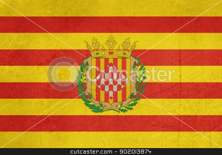 Grunge Girona city flag stock photo, Grunge illustration of Girona city flag in Spain, isolated on white background. by Martin Crowdy
