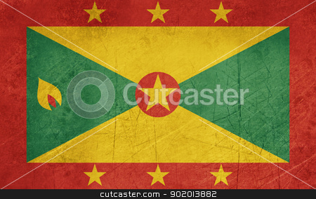 Grunge Grenada Flag stock photo, Grunge sovereign state flag of country of Grenada in official colors. by Martin Crowdy