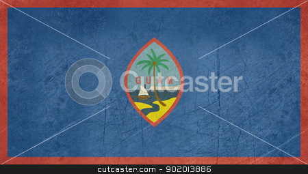 Grunge Guam Flag stock photo, Grunge sovereign state flag of dependent country of Guam in official colors.  by Martin Crowdy