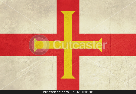 Grunge Guernsey Flag stock photo, Grunge sovereign state flag of dependent country of Guernsey in official colors.  by Martin Crowdy