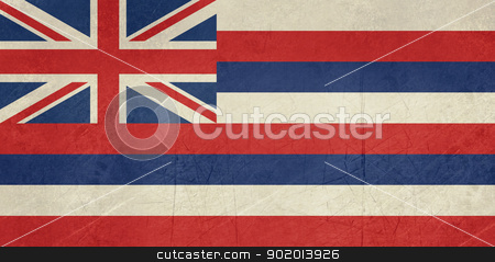 Grunge Hawaii state flag stock photo, Grunge Hawaii state flag of America, isolated on white background. by Martin Crowdy