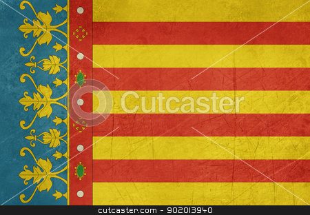 Grunge Valencia city flag stock photo, Grunge illustration of Valencia city flag in Spain, isolated on white background. by Martin Crowdy