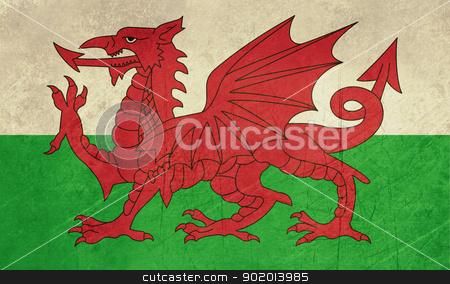 Grunge Welsh flag stock photo, Grunge Welsh Dragon flag illustration, isolated on white background. by Martin Crowdy