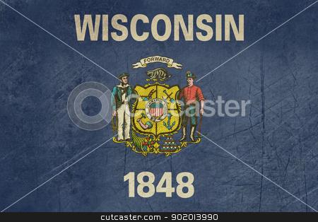 Grunge Wisconsin state flag stock photo, Grunge Wisconsin state flag of America, isolated on white background. by Martin Crowdy