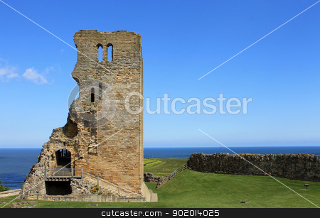 Scarborough Castle ruins stock photo, Exterior of Scarborough Castle ruins, North Yorkshire, England. by Martin Crowdy