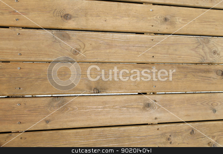 Timber decking stock photo, Overhead view of wooden timber decking. by Martin Crowdy