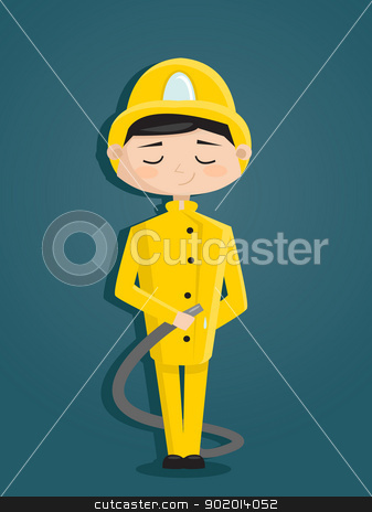 Retro cartoon fireman stock photo, Retro cartoon fireman,  vector illustration by kariiika